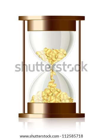 Time is money . Coins falling in the hourglass. - stock vector
