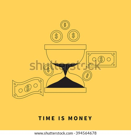 Time is money concept. Hourglass coins. Business currency and clock, dollar saving, watch and cash, sandwatch and monetary. Time management vector illustration. Black thin line on yellow background - stock vector