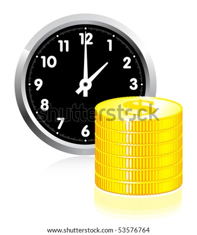 Time is money concept illlustration on white - stock vector