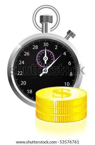 Time is money concept illustration on white - stock vector