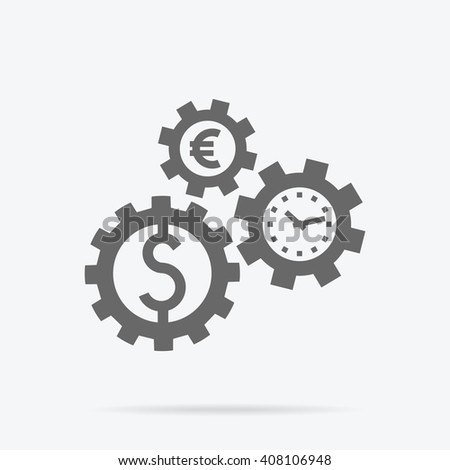 Time is money concept. Interconnection business processes, abstract design of gearwheel mechanism of money dollar and euro. Time passing with currency symbol. Gears of time spin coins money vector - stock vector