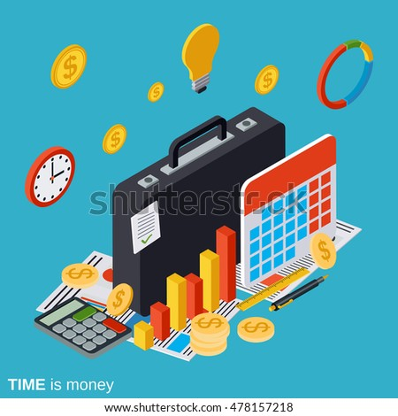 Time is money flat isometric vector concept illustration