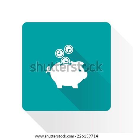 Time is money piggy bank icon. - stock vector