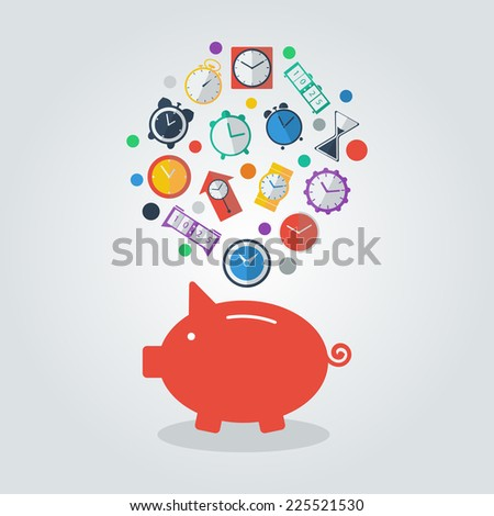 Time is Money. Piggy Bank. Save money flat concept background.  Card with piggy bank and clock.Vector illustration - stock vector