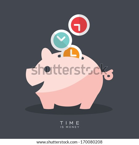 Time is Money Piggy Bank Vector Illustration - stock vector