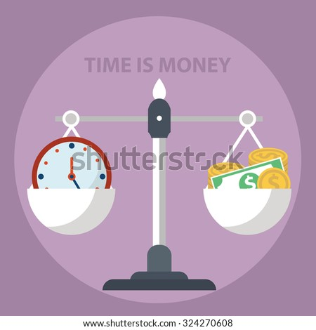 Time is money, scale weighing money and time. - stock vector
