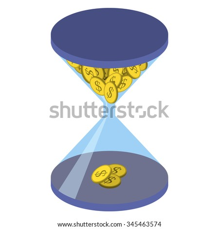 Time is money. Time management abstract illustration, isometric style. Time management business concept. Blue hourglass with yellow coin with a dollar sign isolated on  white background - stock vector