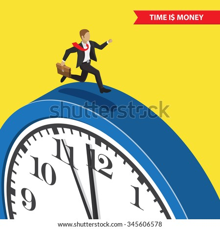 Time is money. Time management abstract illustration, isometric style. Time management business concept. Businessman with briefcase running on the blue clock - stock vector