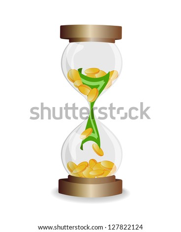 Time is money - vector illustration of hourglass with coins and notes on white background - stock vector