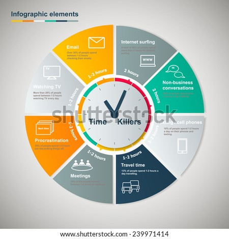 Time killers,infographic circle with clock,infographic elements - stock vector