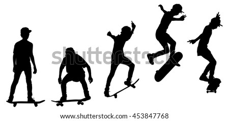 Time-lapse vector silhouette of a skateboarder doing a leap, isolated against white.