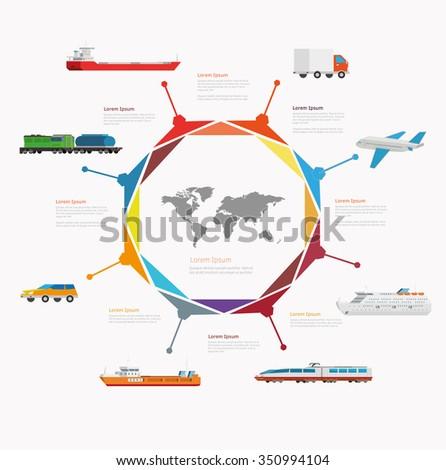 Time line infographic set of transport icons. Vector illustration symbols set. - stock vector