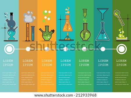 Time line with Chemistry laboratory infographic flat elements vector illustration. - stock vector