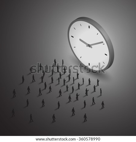 Time management business concept. A group of people walking to a big clock. Isometric illustration vector.