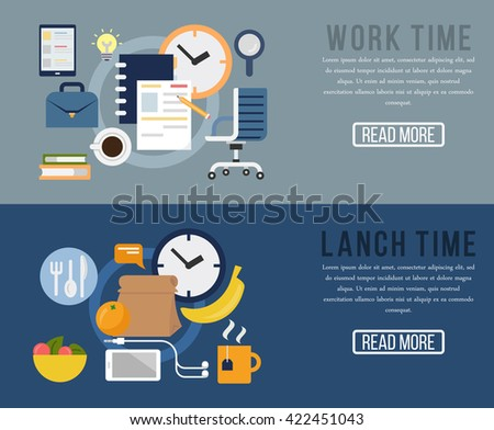 Time management concept, organization, working time, lunch time