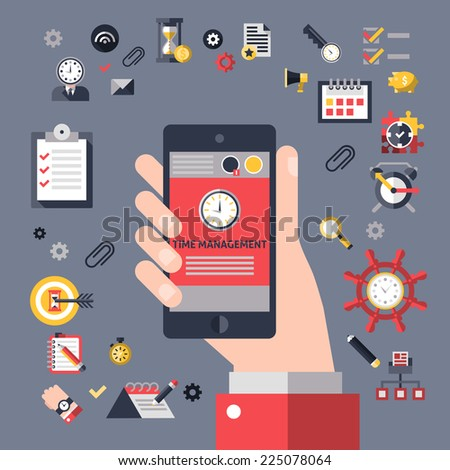 Time management concept with hand holding mobile phone and successful business planning elements vector illustration - stock vector