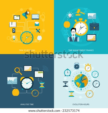 Time management flat icons set with task scheduling time management finance analysis evolution hours isolated vector illustration - stock vector