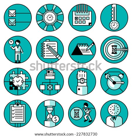Time management office people running planning working training blue line icons set isolated vector illustration - stock vector