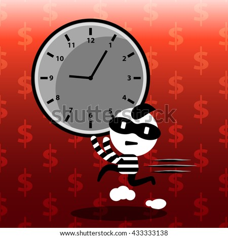 time management on red background cartoon concept stealing time, time control, business management, strategy planning, working hour with money pattern background vector design - stock vector