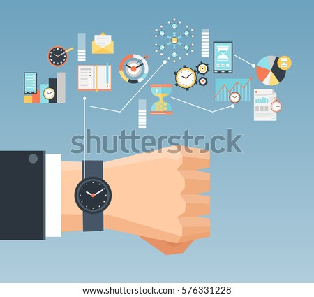 time management planning control concept effiecient stock vector  time management planning and control concept for effiecient succesful and profitable business flat composition poster vector