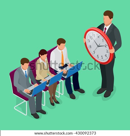 Time management planning. Time to work. Time management project plan schedule. Sand clock. Time to work flat. Flat 3d vector isometric illustration.