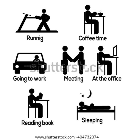 Time management. Running, coffee time, going to work, meeting, at the office, reading book and sleeping icons. Spendin time during the day. Vector Illustration - stock vector
