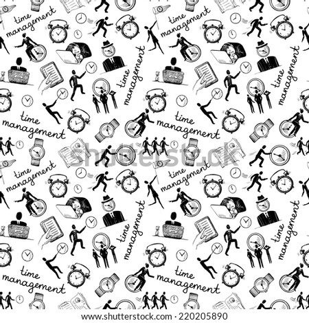 Time management seamless pattern with business sketch icons vector illustration - stock vector