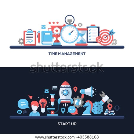 Time Management, Start Up concepts compositions set. Vector modern line flat design infographics elements and web design banners, headers.  - stock vector