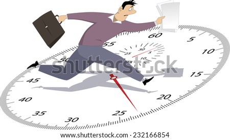 Time management. Stressed man running with papers on a stop-watch - stock vector