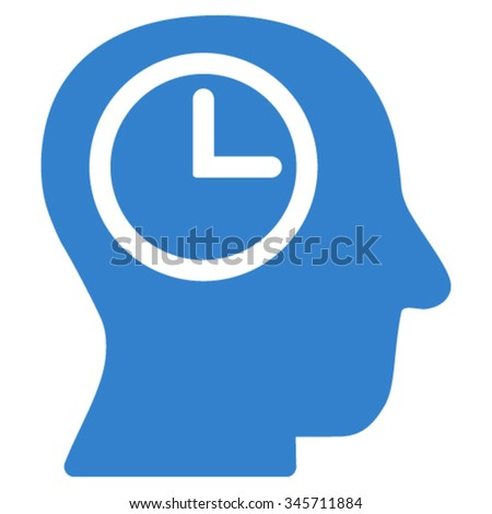 Time Manager vector icon. Style is flat symbol, cobalt color, rounded angles, white background. - stock vector