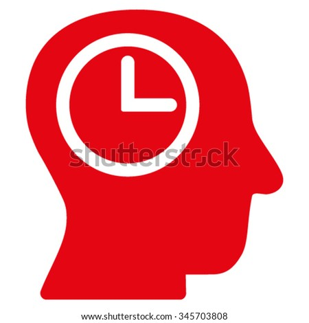 Time Manager vector icon. Style is flat symbol, red color, rounded angles, white background. - stock vector