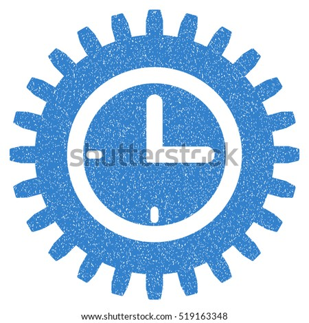 Time Options grainy textured icon for overlay watermark stamps. Flat symbol with dust texture. Dotted vector cobalt ink rubber seal stamp with grunge design on a white background.