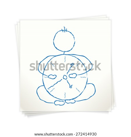Time saving concept. Man with clock. Sketch on paper. - stock vector
