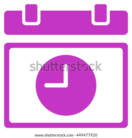 Time Schedule vector icon. Style is flat symbol, violet color, rounded angles, white background. - stock vector
