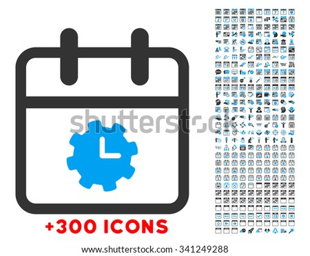 Time Service Day vector icon with additional 300 date and time management pictograms. Style is bicolor flat symbols, blue and gray colors, rounded angles, white background. - stock vector