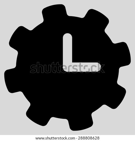 Time settings icon from Business Bicolor Set. This flat vector symbol uses black color, rounded angles, and isolated on a light gray background. - stock vector