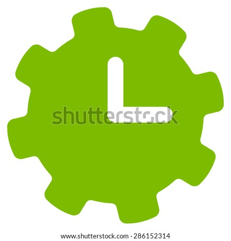 Time settings icon from Business Bicolor Set. This flat vector symbol uses eco green color, rounded angles, and isolated on a white background. - stock vector