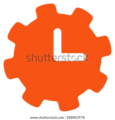 Time settings icon from Business Bicolor Set. This flat vector symbol uses orange color, rounded angles, and isolated on a white background. - stock vector