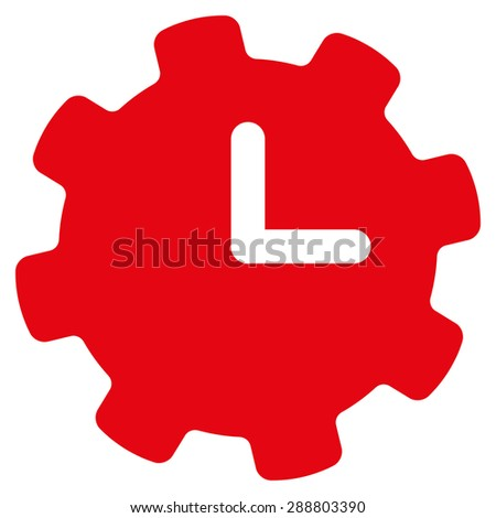 Time settings icon from Business Bicolor Set. This flat vector symbol uses red color, rounded angles, and isolated on a white background. - stock vector