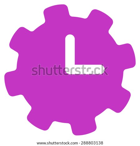Time settings icon from Business Bicolor Set. This flat vector symbol uses violet color, rounded angles, and isolated on a white background. - stock vector