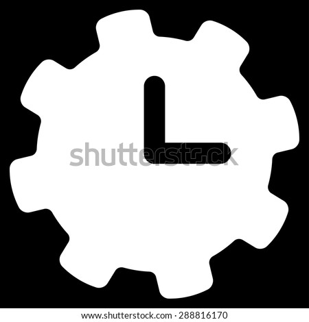 Time settings icon from Business Bicolor Set. This flat vector symbol uses white color, rounded angles, and isolated on a black background. - stock vector