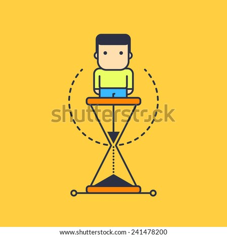 time spent as a hourglass. abstract conceptual illustration. - stock vector