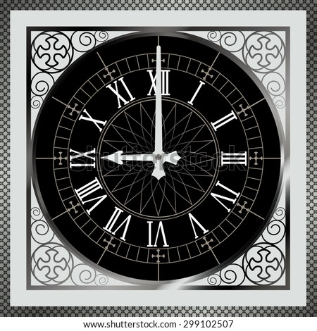 time stop. Black clock, abstract time background