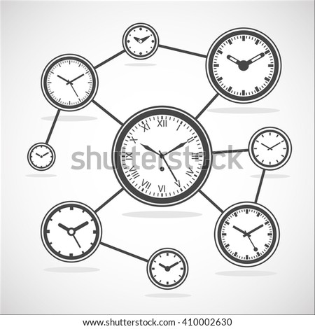 Time synchronization diagram. Clock sync. Internet time connection scheme - Outline Isolated Vector Illustration. Simplified Lines Design.