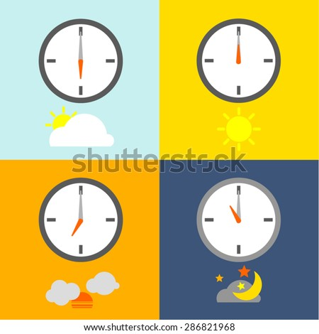TIME TABLE clocks show 4 times for people routine and the sky icons indicate the time as usual. - stock vector