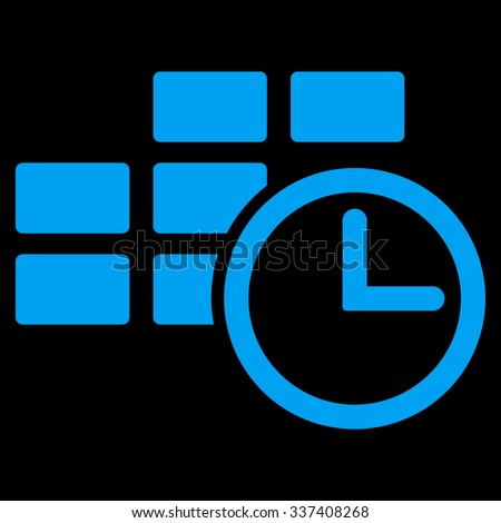 Time Table vector icon. Style is flat symbol, blue color, rounded angles, black background. - stock vector
