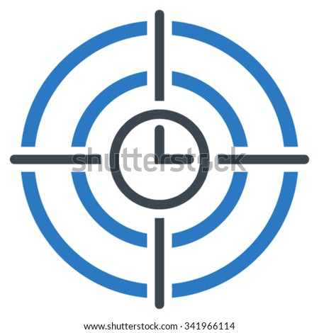 Time Target vector icon. Style is bicolor flat symbol, smooth blue colors, rounded angles, white background. - stock vector