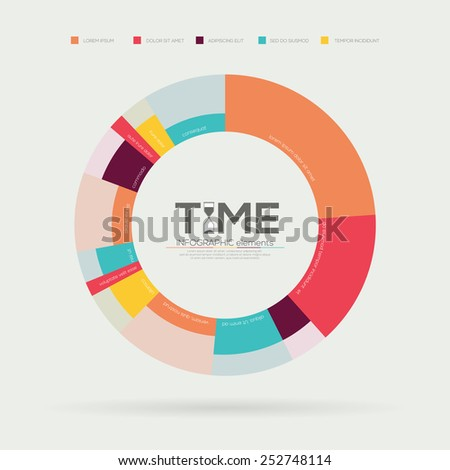 Time Timeline  Infographic. Flat Vector design template.  - stock vector