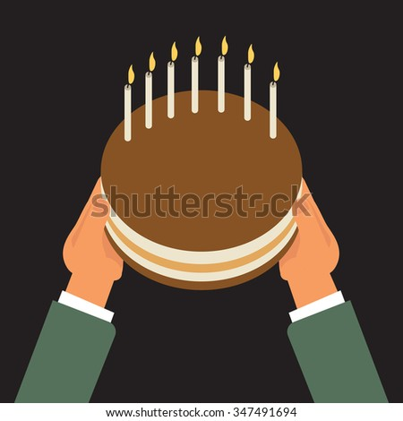 Time to celebrate, hands holding chocolate layer cake decorated with candles - stock vector