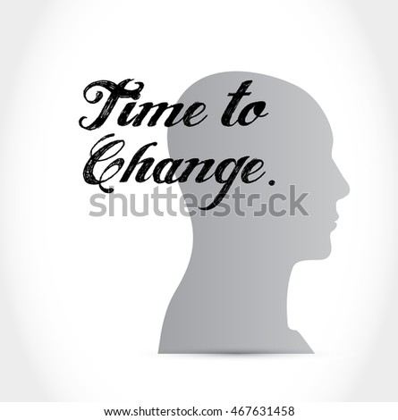 time to change brain sign isolated concept illustration design graphic